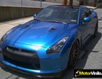 Nissan GTR forrado integral en Vinilo azul brillante metalizado 3M