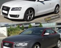 Antes y Después del forrado integral del Audi A5 en Vinilo gris mate oscuro